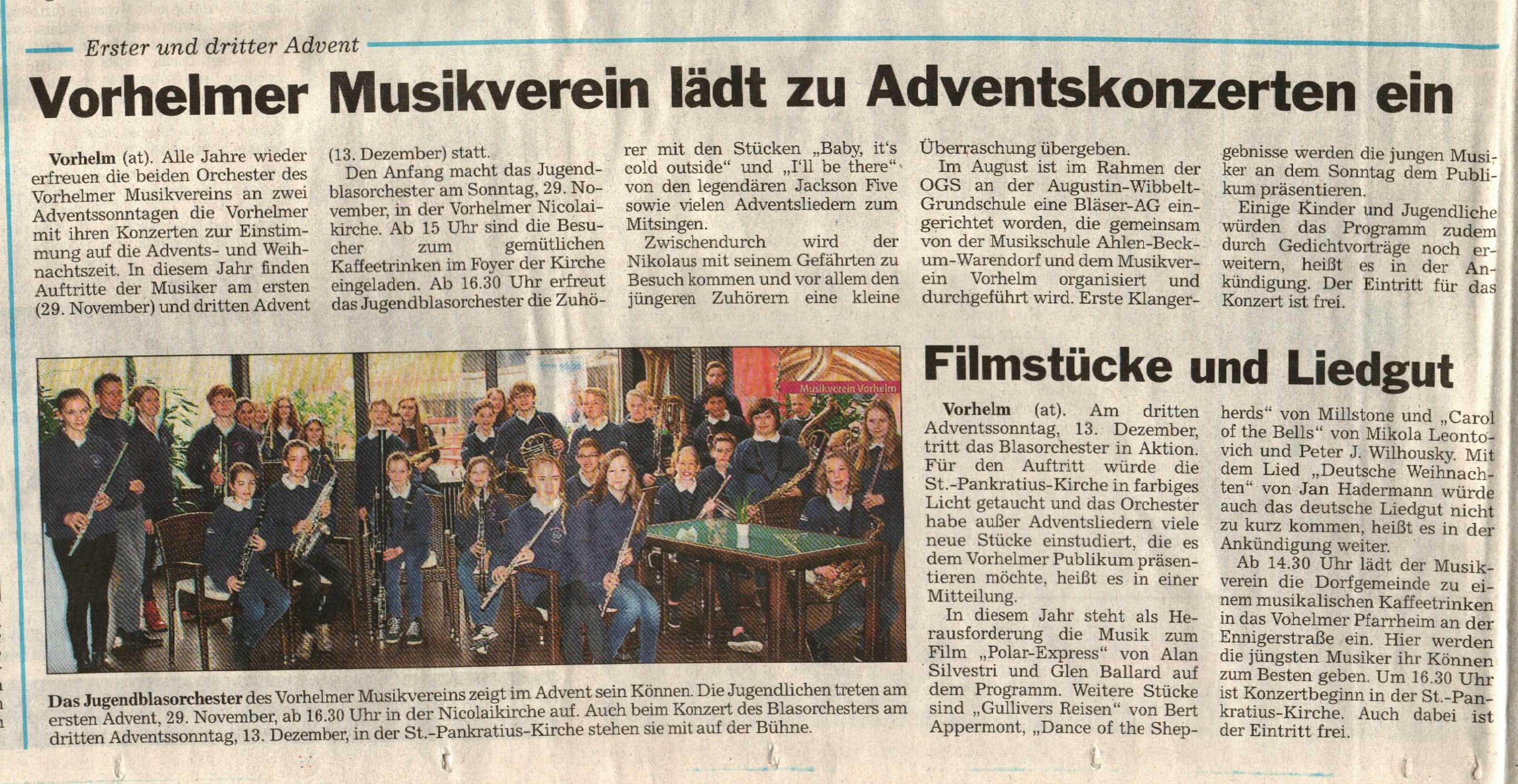 Adventskonzert Musikverein Vorhelm/ 24.11.2015