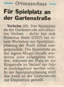 Ortsausschuss für Spielplatz an der Gartenstraße / 24.11.2015