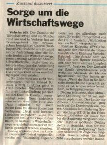 Ortsausschuss Sorge um Wirtschaftswege/ 24.11.2015