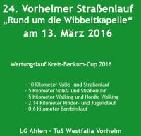 """24. Vorhelmer Straßenlauf """"Rund um die Wibbeltkapelle"""""""