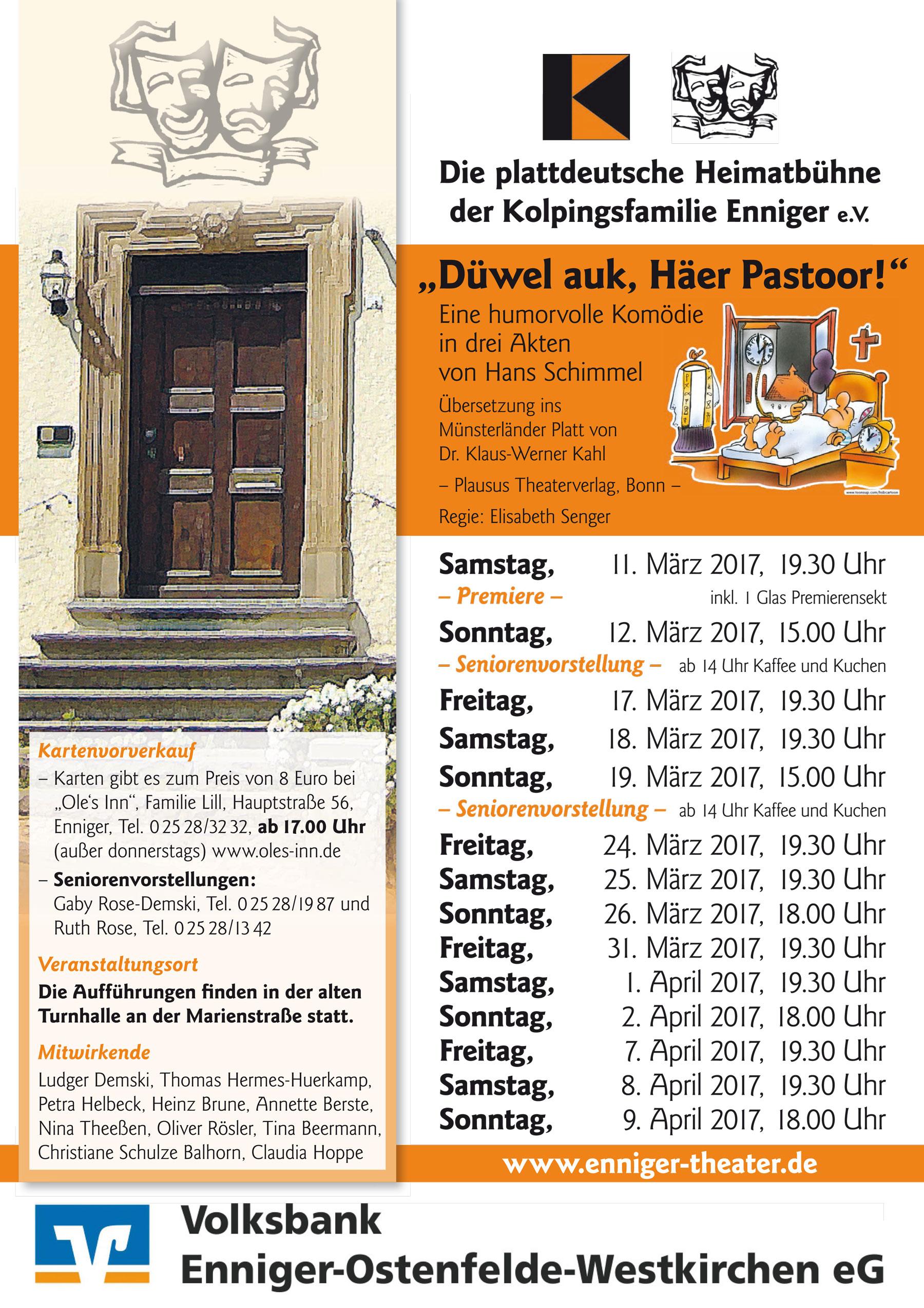 """Spielplan """"Heimatbühne Enniger"""""""