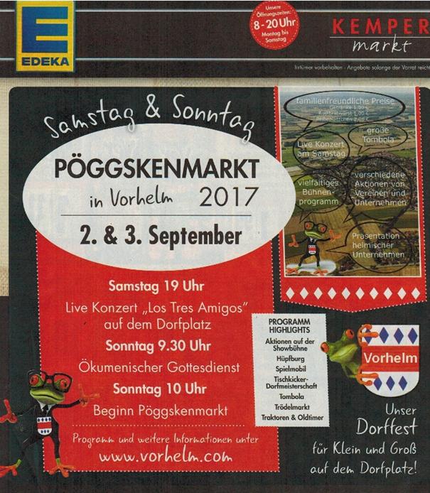 Werbung Pöggskenmarkt 2017 in Vorhelm