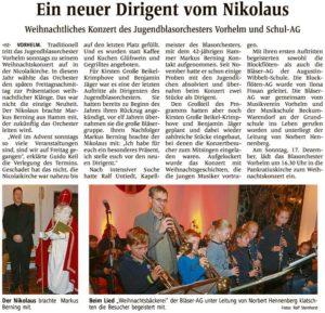"""WN 03.12.2017 Musikverein """"Weihnachtliches Konzert des Jugendblasorchester Vorhelm"""""""