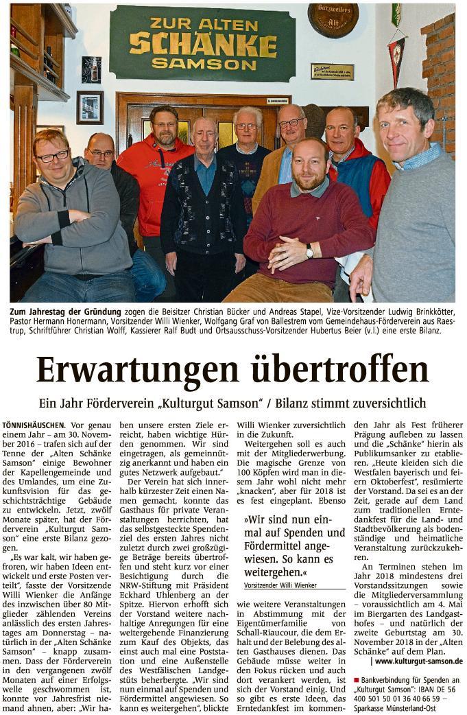 "WN 03.12.2017  Ein Jahr Förderverein ""Kulturgut Samson"""
