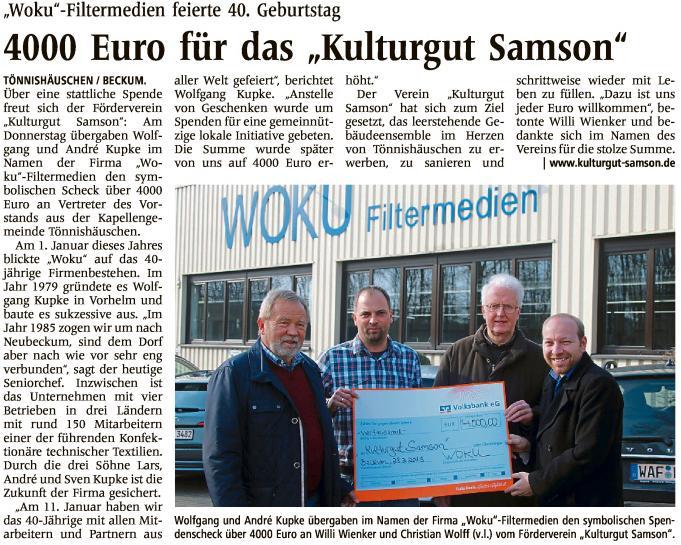 Woku Filtermedien spendet für das Kulturgut Samson