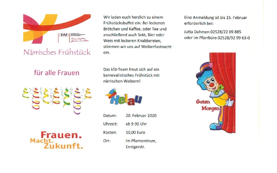 karnevalistisches Frühstück mit närrischen Weibern / 20.02.2020 um 9:30 Uhr im Pfarrheim Vorhelm